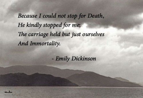 theme poem because could not stop death emily dickinson Emily dickinson's poetry is known for its philosophical but tragic touch death is one of the key elements in her works, which she treats in multiple perspectives.